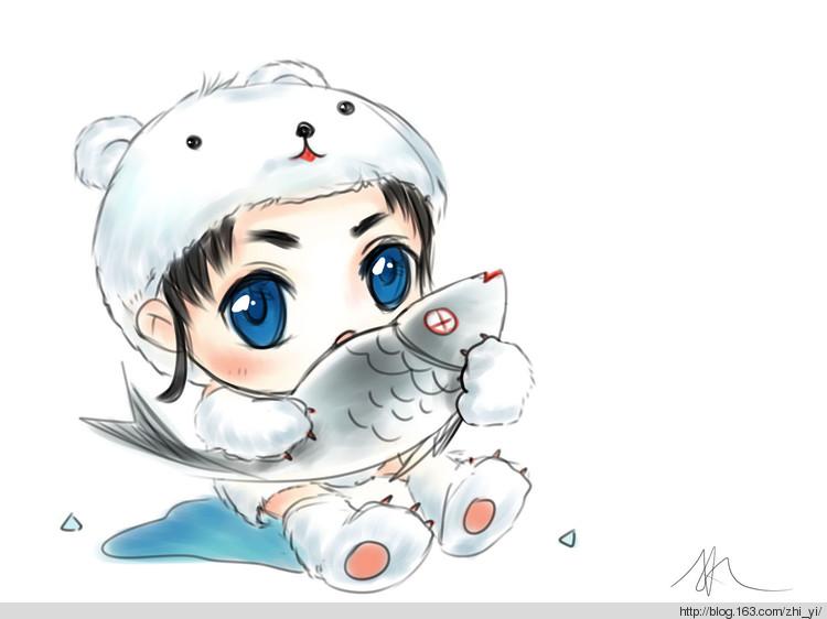 画可爱的小北极熊