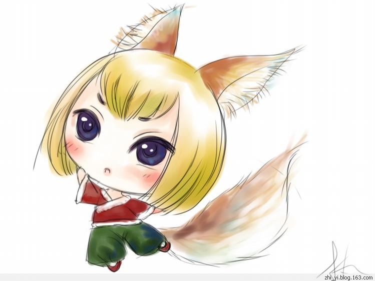 [制图组]q版庭院妖怪,纠结的小狐狸