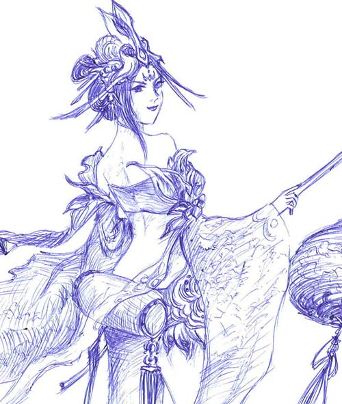 【鸢画ル】圆珠笔手绘红蔷- 《新大话西游3》(经典版)