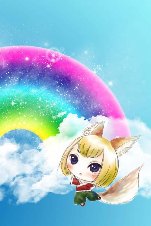 彩虹手机壁纸-q版小狐狸