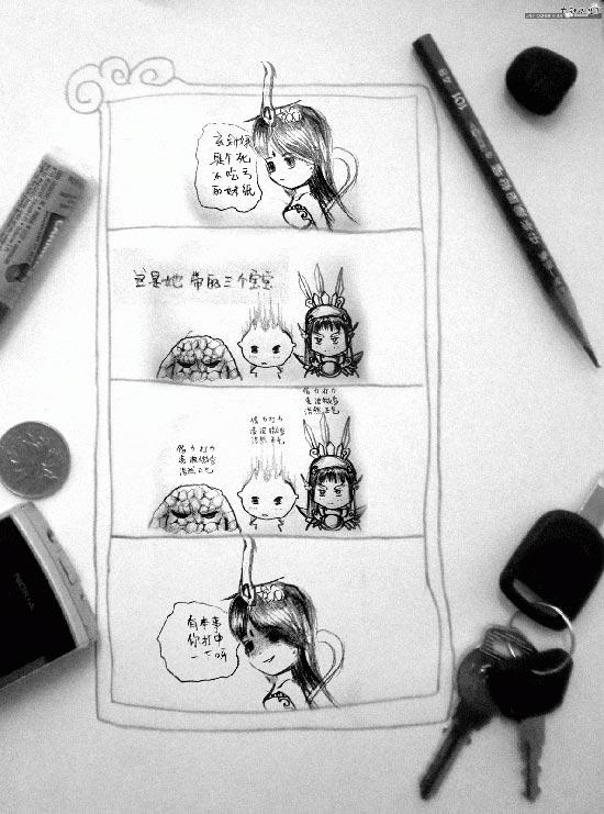 手绘四格漫画两则