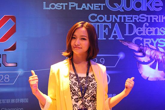 中国电竞人气美女miss在网易电竞发布会现场